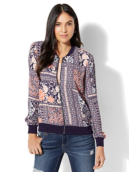 Mixed-Print Bomber Jacket - Navy - New York & Company