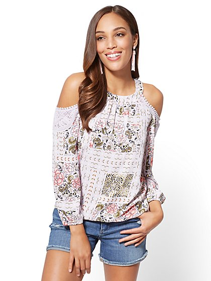 Mixed-Print Cold-Shoulder Blouse - New York & Company