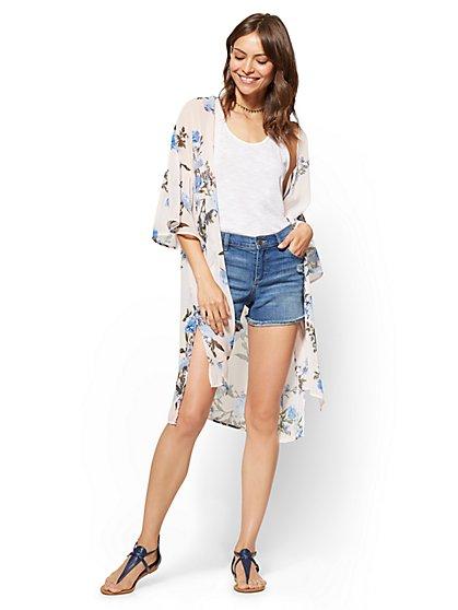 Mixed-Print Kimono  - New York & Company