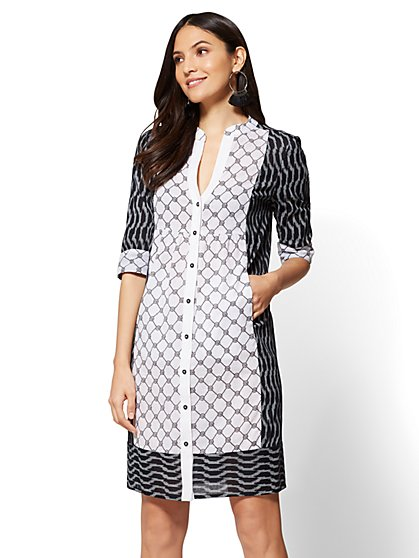 Mixed-Print Shirtdress - New York & Company