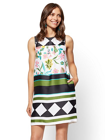 Mixed-Print Sleeveless Shift Dress - New York & Company