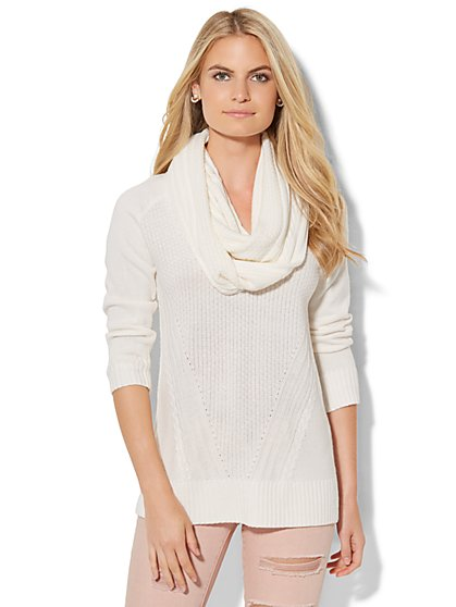 Mixed-Stitch Sweater with Detachable Scarf - New York & Company