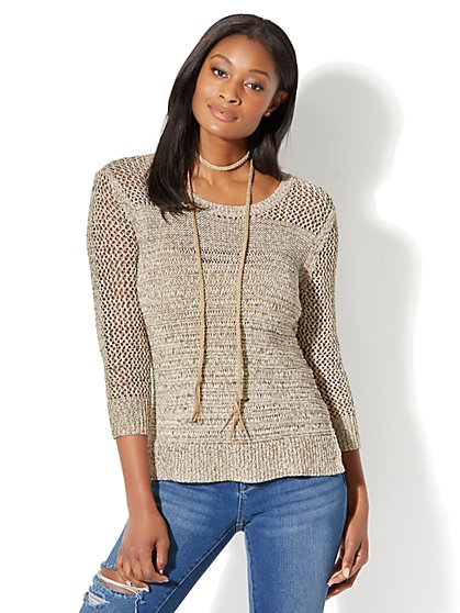 Mixed-Stitch Sweater - New York & Company