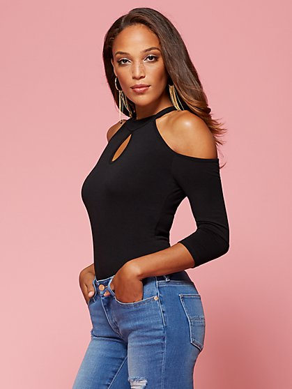Mock-Neck Cold-Shoulder Bodysuit  - New York & Company