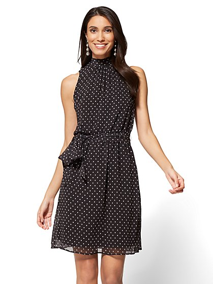Mock-Neck Tie-Waist Dress - Polka Dot - New York & Company