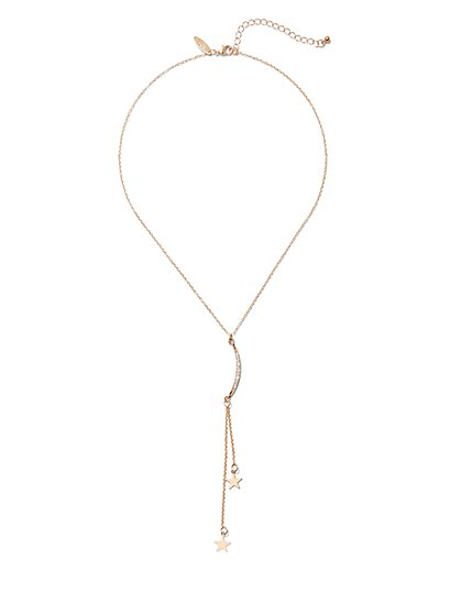 Moon & Star Lariat Necklace - New York & Company