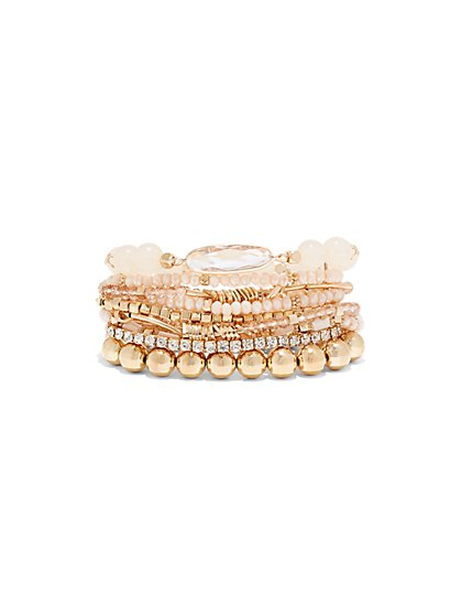 Multi-Row Beaded Stretch Bracelet  - New York & Company