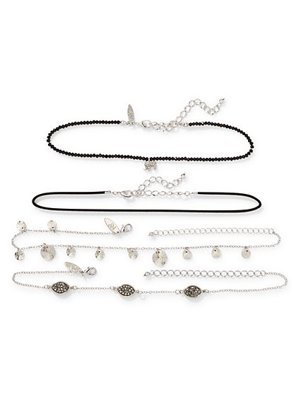 Multi-Row Charm Choker Necklace Set  - New York & Company