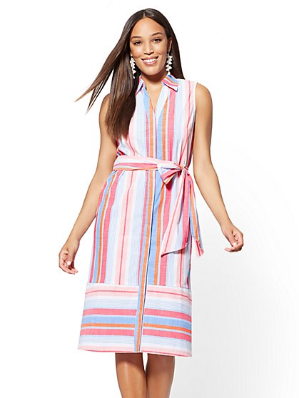 Multicolor Stripe Cotton Shirtdress - New York & Company