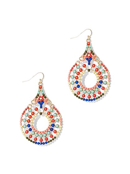 Multicolored Beaded Drop Earring  - New York & Company