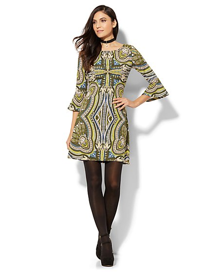 Must-Have Bell-Sleeve Printed Fit & Flare Dress  - New York & Company