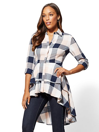 Navy Plaid Ruffled Hi-Lo Shirt - New York & Company