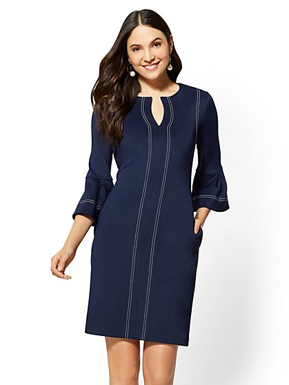 Navy Topstitched Shift Dress - New York & Company