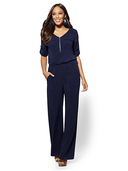Navy Zip-Front V-Neck Jumpsuit - New York & Company