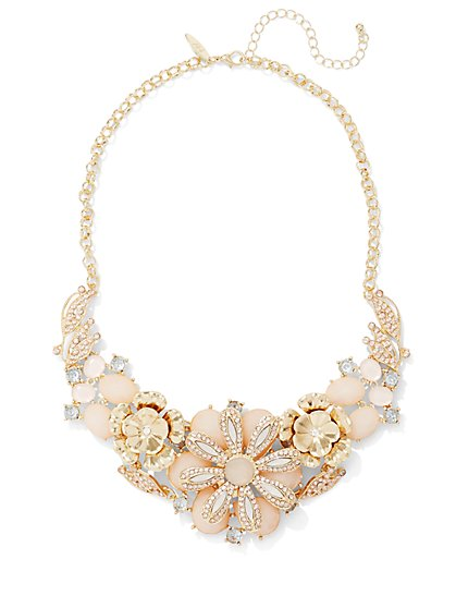 Neutral Floral Bib Necklace  - New York & Company
