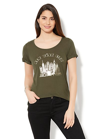 New York City Skyline Graphic Logo Tee - New York & Company