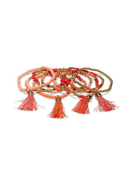 Nine-Row Beaded Tassel Bracelet   - New York & Company
