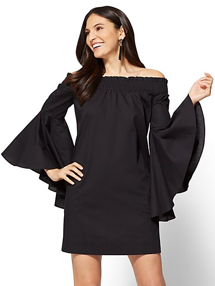 Off-The-Shoulder Bell-Sleeve Poplin Dress - Black - New York & Company
