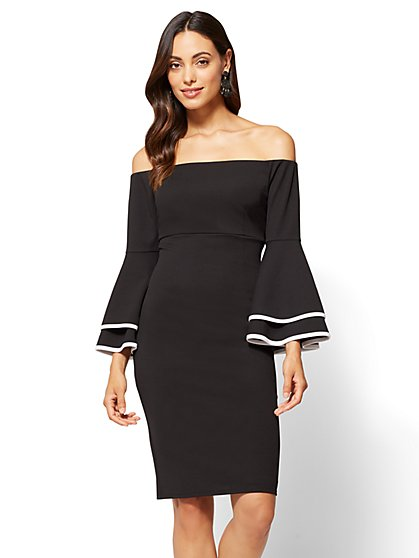 Off-The-Shoulder Bell-Sleeve Sheath Dress - New York & Company