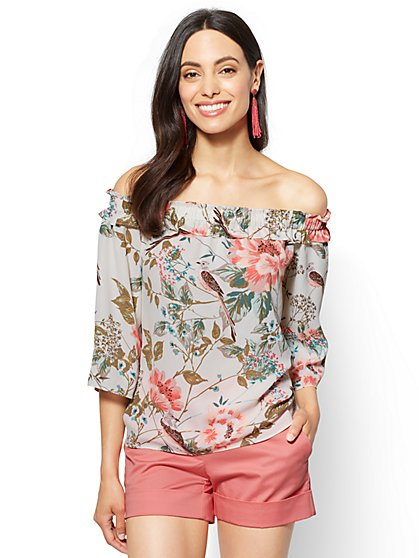 Off-The-Shoulder Blouse - Bird & Floral Print - New York & Company