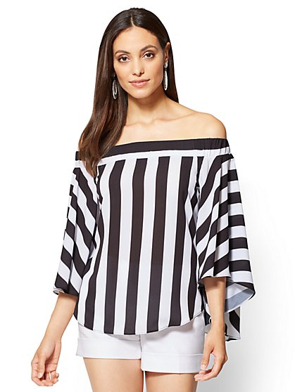 Off-The-Shoulder Blouse - Black & White Stripe - New York & Company