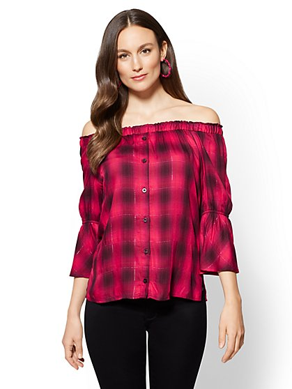 Off-The-Shoulder Blouse - Metallic Plaid - New York & Company