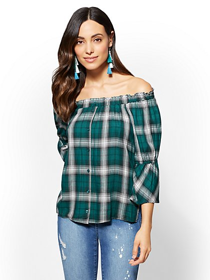 Off-The-Shoulder Blouse - Plaid - New York & Company