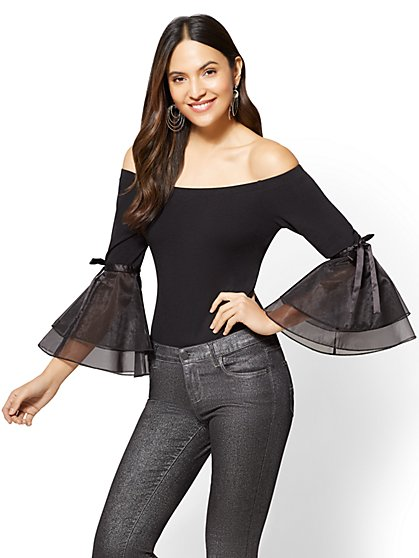 Off-The-Shoulder Bodysuit - Black - New York & Company