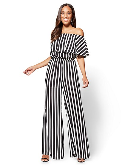 Off-The-Shoulder Jumpsuit - Stripe - New York & Company