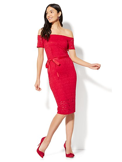 Off-The-Shoulder Lace Sheath Dress - Red - New York & Company