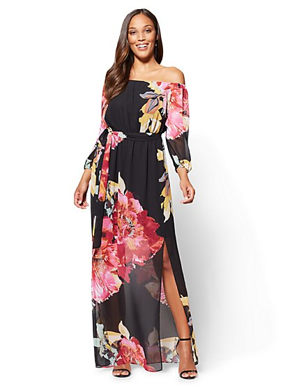 Off-The-Shoulder Maxi Dress - Black Floral - New York & Company