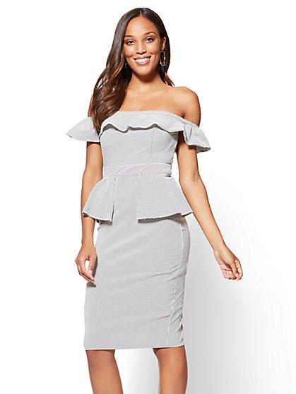 Off-The-Shoulder Peplum Shift Dress - New York & Company