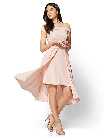 Off-The-Shoulder Pleated Overlay Dress - New York & Company