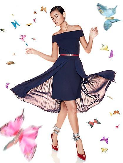 Off-The-Shoulder Pleated Overlay Sheath Dress - New York & Company