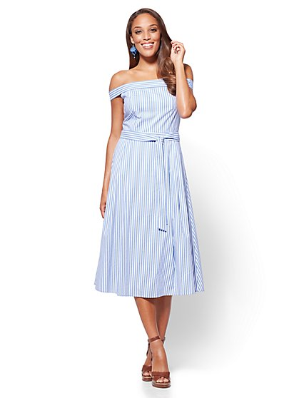 Off-The-Shoulder Poplin Dress - Blue & White Stripe - New York & Company