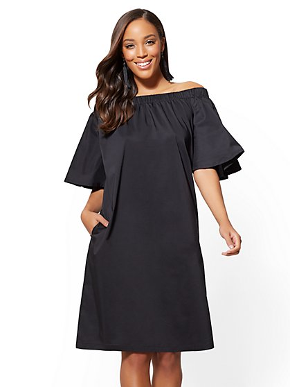 Off-The-Shoulder Poplin Shift Dress - New York & Company