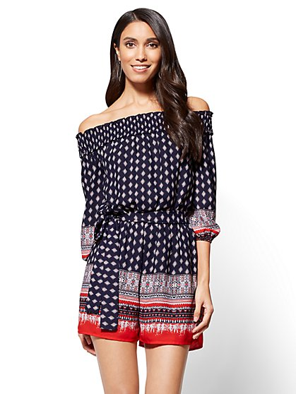 Off-The-Shoulder Printed Romper - New York & Company
