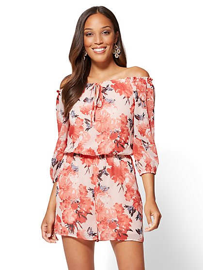 Off-The-Shoulder Romper - Floral - New York & Company