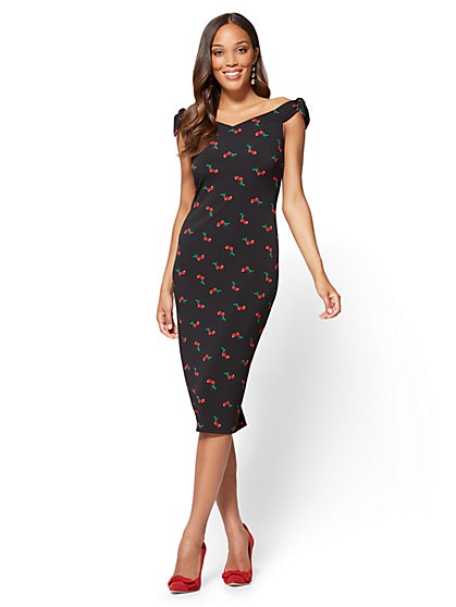 Off-The-Shoulder Sheath Dress - Cherry Print - New York & Company