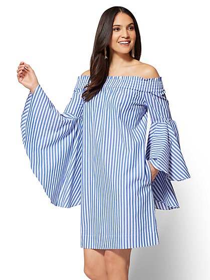 Off-The-Shoulder Smocked Poplin Dress - New York & Company