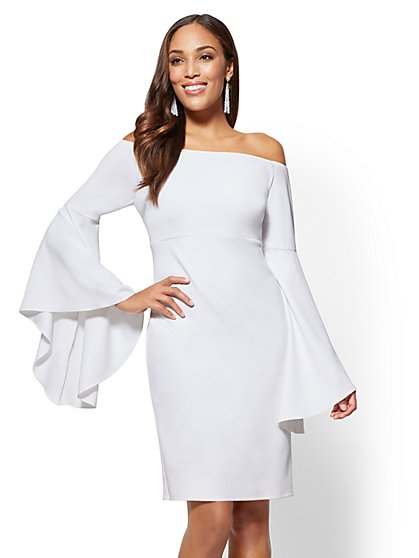 Off-The-Shoulder Statement-Sleeve Dress - New York & Company