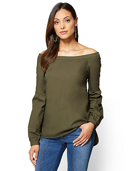 Off-The-Shoulder Statement-Sleeve Top - Olive  - New York & Company