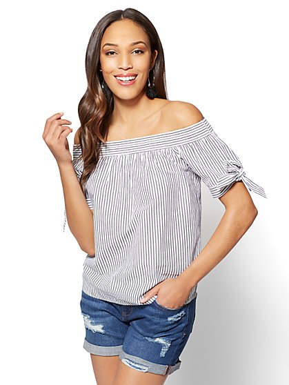 Off-The-Shoulder Striped Blouse - New York & Company