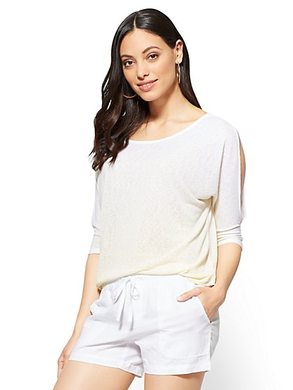 Ombré Cold-Shoulder Top - New York & Company