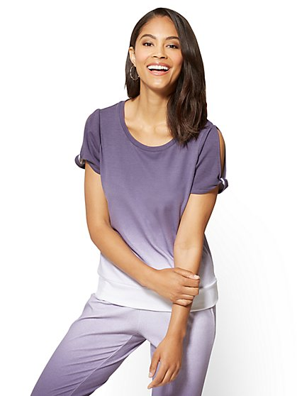 Ombré Split-Sleeve Crewneck Top - New York & Company
