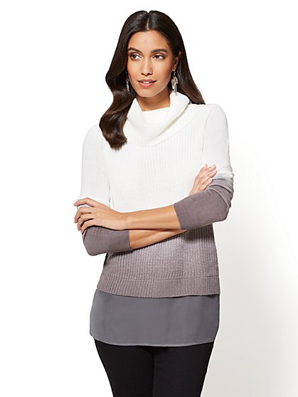 Ombre Cowl-Neck Twofer Sweater - New York & Company