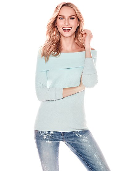 Ombre Metallic Off-The-Shoulder Sweater - New York & Company