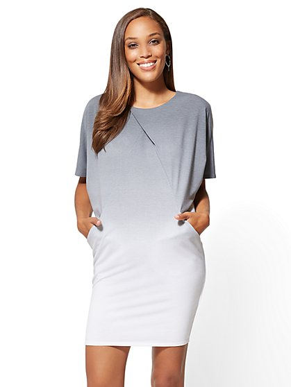 Ombre Pleated-Front Shift Dress - New York & Company
