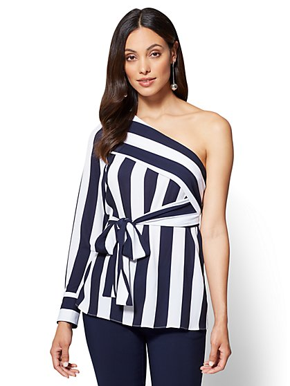 One-Shoulder Blouse - Navy & White Stripe - New York & Company
