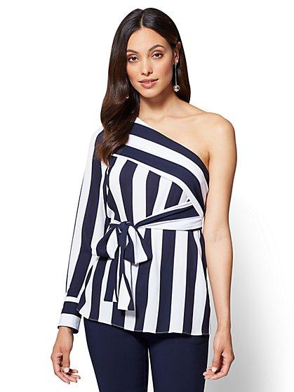 One-Shoulder Blouse - Navy & White Stripe - New York & Company
